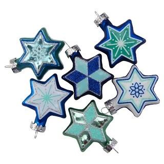 "Set of 6 Blue and White Star of David Hanukkah Holiday Ornaments - 2.25"""