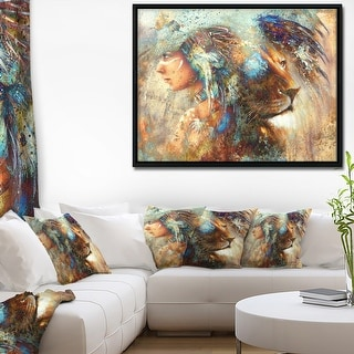 Designart 'Indian Woman Collage with Lion' Indian Framed Canvas Artwork