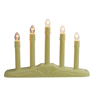 """14.5"""" Ivory 5-Lights Christmas Chandelier on Holly Berry and Bell Base Candle Lamp"""