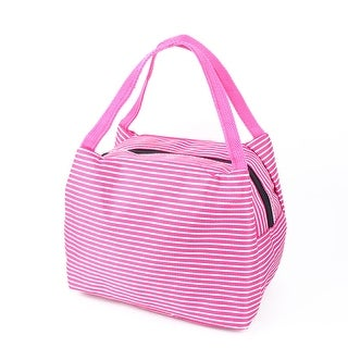 Outdoor Stripes Insulated Thermal Cooler Lunch Bag Picnic Carry Tote Box Magenta