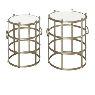 Belvedere Champagne Metallic Finish And Marble 2 Piece Accent Table Set - 23 X 18.25 X 18.25 inches