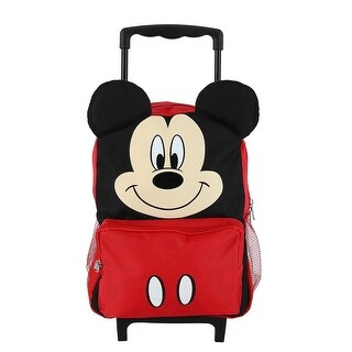 Disney Kids' 14 Inch Big Face Mickey Mouse Rolling Backpack - one size