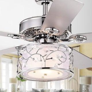 Swerl 52-inch 1-light Lighted Ceiling Fan with Multi-Layered Shade (incl. Remote & 2 Color Option Blades)