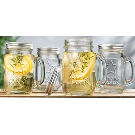 Palais Mason Jar Tumbler Mug with Stainless Steel Lid - 16 Ounces - Set of 4 - ('Star Mason' Print)