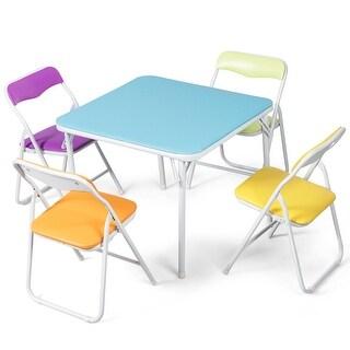 Costway Kids 5 Piece Folding Table Chair Set Children Multicolor Play