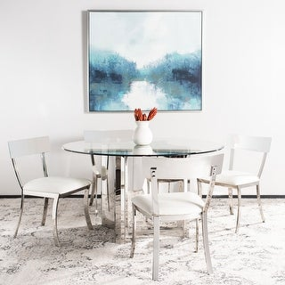 "Safavieh Dining Abby Glam White/ Silver Chrome Dining Chair (Set of 2) - 18.5"" x 21.9"" x 33.3"""