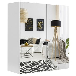 Gymax 24'' Wall Mount Mirrored Medicine Storage Cabinet 2 Mirror Door