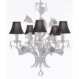 Wrought Iron and Crystal Floral White Chandelier with Shades
