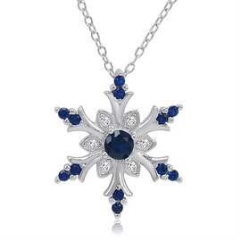 1/2ct Created Blue and White Sapphire Snowflake Pendant in Sterling Silver