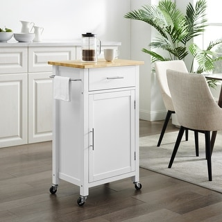 "Savannah Wood Top Compact Kitchen Island/Cart - 37""H x 22.25""W x 15.75""D"