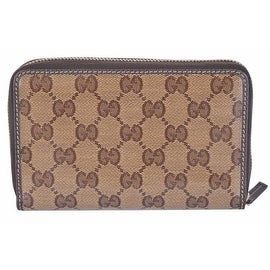 New Gucci Crystal Line Shiny Coated Canvas GG Guccissima Zip Around Wallet