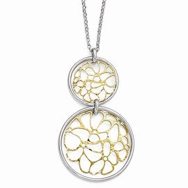Italian Sterling Silver Gold-tone Flash Plated Polished Necklace - 18 inches