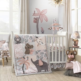 Lambs & Ivy Calypso Pink/Gray Koala, Elephant & Monkey Nursery 4-Piece Baby Crib Bedding Set