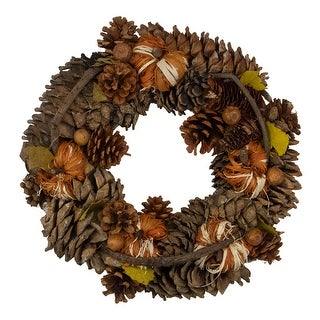 Pine Cones and Gourds Artificial Thanksgiving Wreath - 13.25-Inch, Unlit