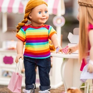 Jeans, Rainbow Short Sleeve Shirt Fits 18 in Boy or American Girl Doll Clothes