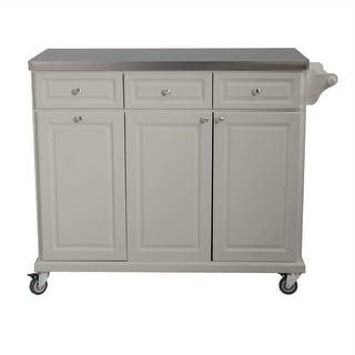 Sunjoy Buckhead Kitchen Island Cart with Stainless Steel Countertop