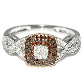 Coganc and White Diamond Engagement Ring 1/4cttw 10K White gold (I/j Color 0.25cttw)