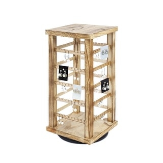 Natural Wood Rotating Jewelry Tower for Earring and Earring Card Storage Display