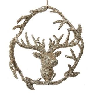 Kurt Adler Golden Glitter 7 Inch Antler Wreath with Deer Head Holiday Ornament