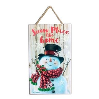 """White and Red Snowman Printed Rectangular Christmas Wall Sign with Rope Hanger 10"""" x 6"""""""