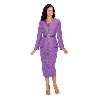 Giovanna Collection Women's 3-piece Lace and Silk Wool Skirt Suit