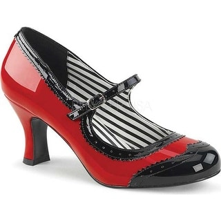 Pleaser Pink Label Women's Jenna 06 Mary Jane Red-Black Patent