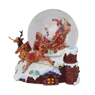 5.5 Santa Claus on Sleigh with Reindeer Musical Christmas Snow Globe Tabletop Decoration