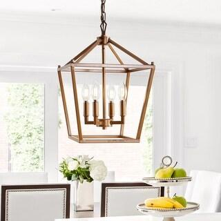 "Pagoda 12"" 4-Bulb Lantern Metal LED Pendant, Antique Gold by JONATHAN Y"