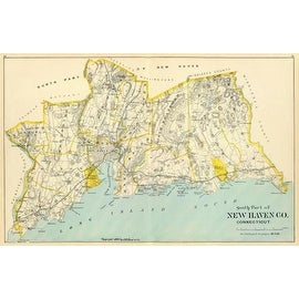 Connecticut: New Haven County South, 1893 by D.H. Hurd And Co. Maps Art Print