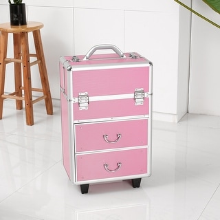 4 Tier Lockable Cosmetic Makeup Train Case with Extendable Trays Pink