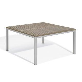"Oxford Garden Travira 60"" Square Dining Table - Aluminum Frame, Vintage Tekwood Top"