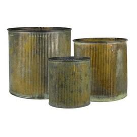 CYS® Corrugated Zinc Metal Galvanized Plant Pot Cylinder Vases, Pots, Planters - Set of 3