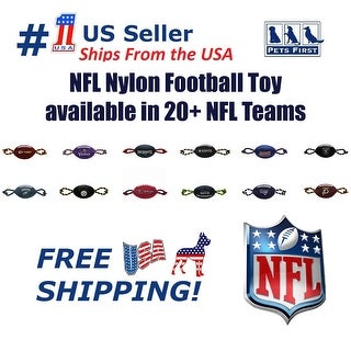 NFL Nylon Football Pet Toy - Licensed, Heavy-duty Tough Dog Rope & Squeaker Toy