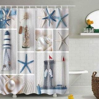 Bathroom Shower Curtains Beach Sea World Seashell Sandy Waterproof