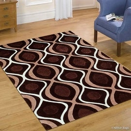 "AllStar Chocolate Hand Made Modern Transitional Linear Design Area Rug with Dimensional Hand-Carving Highlights (7' x 10' 2"")"
