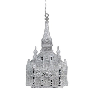 """6"""" Crystal Church with Iridescent Glitter Religious Christmas Ornament"""