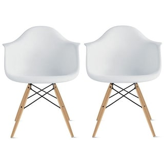2xhome Set of 2 Plastic Designer Chair with Arm White Natural Wood Legs Dining Armchair