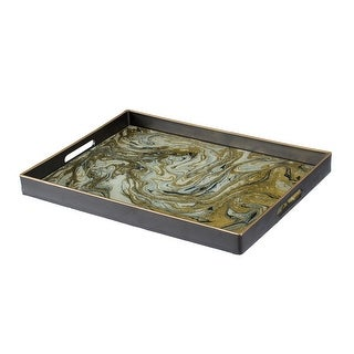 A&B Home Green and Black Geode Rectangular Mirror Tray