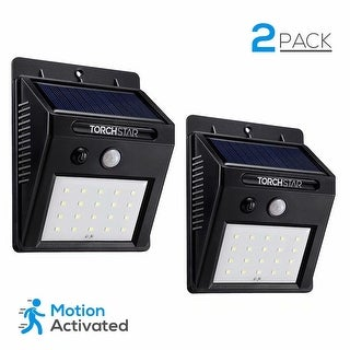 Wireless Solar Powered Outdoor Security Wall Pack with Motion Sensor, Black (Pack of 2)