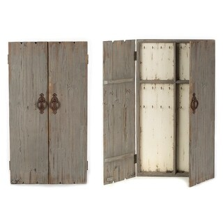 "43.5""H Distressed Gray Wall Jewelry Armoire"