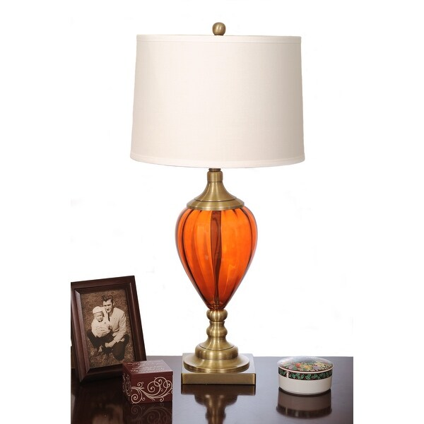 "32"" Amber Glass Chrome Antique Black Base Table Lamp"