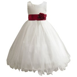 Wedding Easter Flower Girl Dress Wallao Ivory Rattail Satin Tulle (Baby - 14) Apple Red