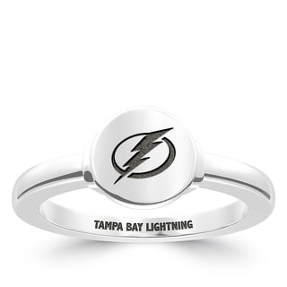 Tampa Bay Lightning Engraved Sterling Silver Signet Ring