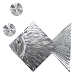 Statements2000 Tropical Metal Wall Art Ocean Beach Decor by Jon Allen - Island Time Silver Fish