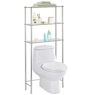 Home Basics 3-Tier Over-The-Toilet Glass Space Saver, Chrome, 25.9x10.6x 58.2 Inches - Chrome - 25.9x10.6x58.2