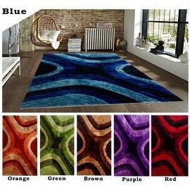 5'x8' Feet Modern Contemporary Shag Shaggy Blue Red Orange Purple Green Brown Area Rug Carpet Rug
