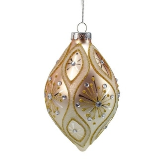 "5.5"" Rose Gold Retro Ombre Glass Christmas Drop Ornament"