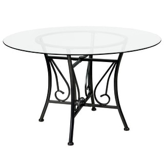 """Princeton 48'' Round Glass Dining Table with Metal Frame - 48""""W x 48""""D x 29""""H"""