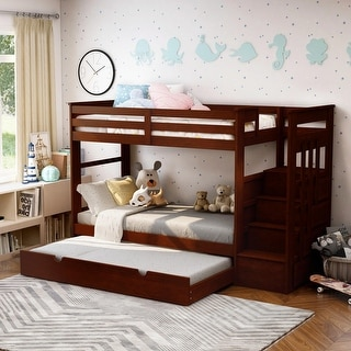 Furniture of America Bred Modern Walnut 2-piece Bunk Bed w/ Trundle Set