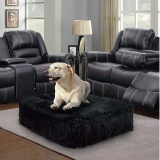 Bessie and Barnie Black Bear Plush Faux Fur Luxury Shag Durable Sicilian Rectangle Pet/Dog Bed